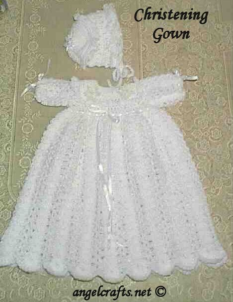 Free crochet baby christening gown pattern